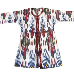 Traditional Handmade Red and Blue Ikat Cotton Kaftan