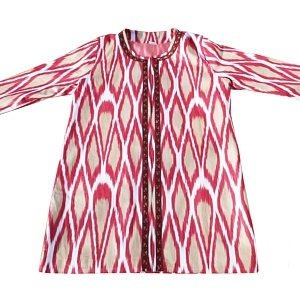 Traditional Handmade Red and Tan Ikat Cotton Kaftan/Coat